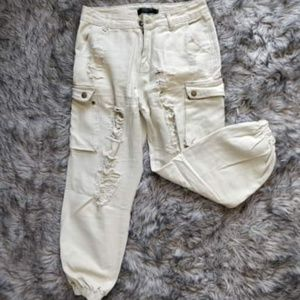 NEW Tan Distressed Cargo Pants